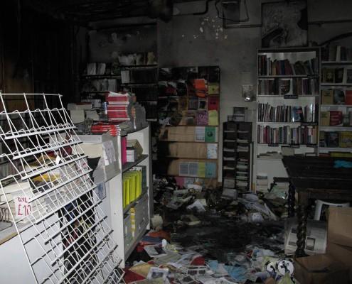 Foto verbrannter Buchladen